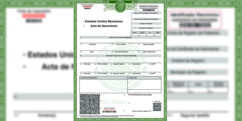 Acta de nacimiento certificada en línea